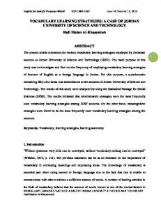 VOCABULARY LEARNING STRATEGIES - English for Specific ...