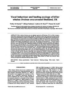 Vocal behaviour and feeding ecology of killer whales ... - Inter Research