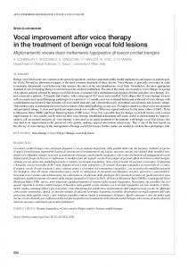 Vocal improvement after voice therapy in the ... - Semantic Scholar