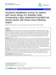 Vocational rehabilitation services for patients with cancer - ScienceOpen