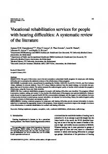 Vocational rehabilitation services for people with hearing ... - IOS Press