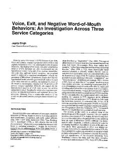 Voice, Exit, and Negative Word-of-Mouth