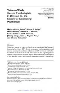 Voices of Early Career Psychologists in Division 17, the Society of