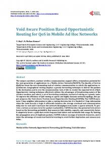 Void Aware Position Based Opportunistic Routing for QoS in Mobile ...