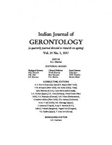 Vol. 31, No. 1, 2017 - Indian Gerontological Association