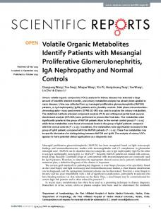 Volatile Organic Metabolites Identify Patients with Mesangial ...