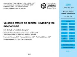 Volcanic effects: climate mechanisms - Atmos. Chem. Phys