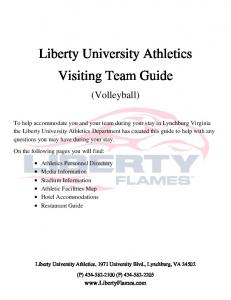 Volleyball Visiting Team Guide - Liberty University