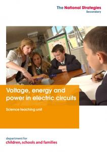 Voltage, energy and power in electric circuits