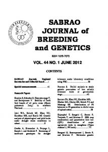 Volume 44 No. 1 June 2012 - sabrao