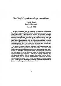 Von Wright's preference logic reconsidered - Semantic Scholar