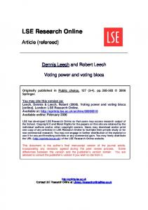Voting power and voting blocs
