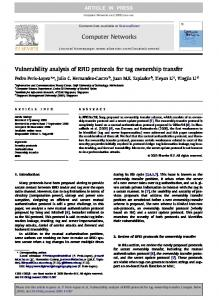 Vulnerability analysis of RFID protocols for tag ownership ... - CiteSeerX