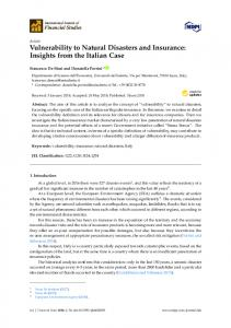 Vulnerability to Natural Disasters and Insurance: Insights from ... - MDPI