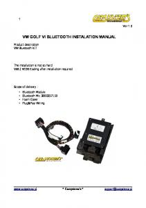VW GOLF VI BLUETOOTH INSTALATION MANUAL