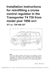 VW Transporter T4 Cruise Control Installation Instructions