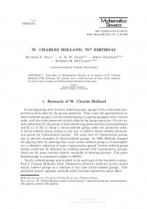 W. CHARLES HOLLAND, 75 BIRTHDAY 1. Research