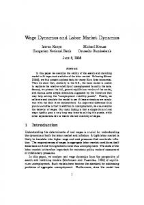 Wage Dynamics and Labor Market Dynamics - CiteSeerX