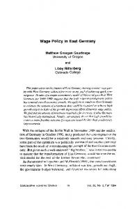 Wage Policy in East Germany - (SSRN) Papers