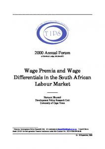 Wage Premia and Wage Differentials in the South African ... - CiteSeerX