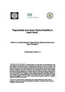 Wage Subsidy and Labour Market Flexibility in South Africa - CiteSeerX