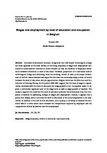 Wages and employment by level of education and occupation in ...