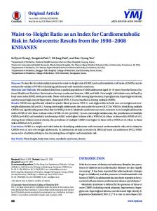 Waist-to-Height Ratio as an Index for Cardiometabolic Risk in ...