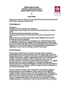 Waiting Opportunities: Adolescent girls experiences of gender-based ...