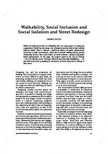 Walkability, Social Inclusion and Social Isolation and ... - IngentaConnect