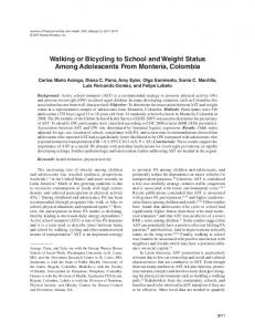 Walking or Bicycling to School and Weight Status ... - Semantic Scholar