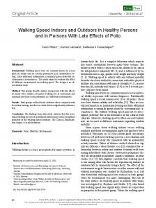 Walking Speed Indoors and Outdoors in Healthy Persons and in ...