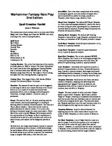 Warhammer Fantasy Role Play 2nd Edition - Peracles' RPG Home ...