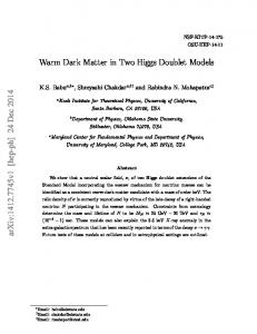 Warm Dark Matter in Two Higgs Doublet Models arXiv:1412.7745v1 ...