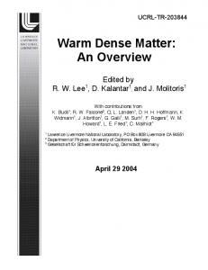 Warm Dense Matter - Site Index Page - Lawrence Livermore National ...