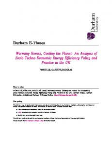 Warming Homes, Cooling the Planet: An Analysis of Socio ... - Durham