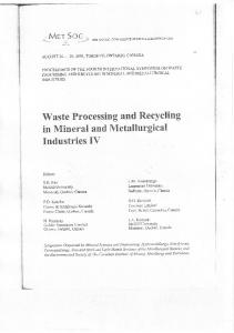 Waste Processing and Recycling in Mineral and