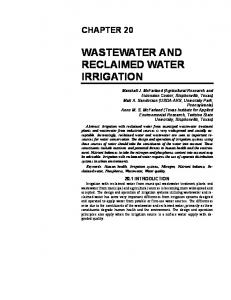 wastewater and reclaimed water irrigation - ASABE Technical Library