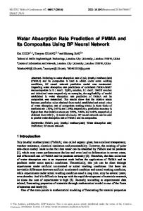 Water Absorption Rate Prediction of PMMA and Its Composites Using ...