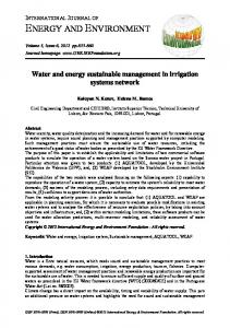 Water and energy sustainable management in irrigation systems ...