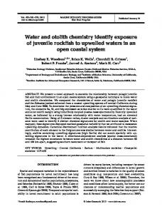 Water and otolith chemistry identify exposure of juvenile rockfish to ...