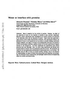 Water at interface with proteins
