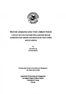 water demand and the urban poor - CiteSeerX