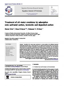 water emulsions by adsorption onto activated carbon, bentonite ... - Core