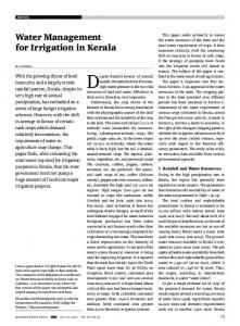 Water Management for Irrigation in Kerala