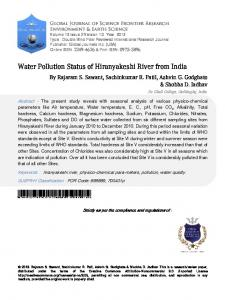 Water Pollution Status of Hiranyakeshi River from India