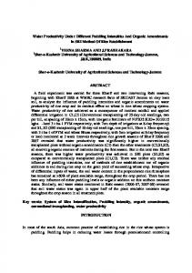 Water Productivity Under Different Puddling Intensities ... - WASSAN