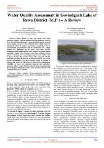 Water Quality Assessment in Govindgarh Lake of Rewa District (M.P. ...