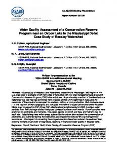 Water Quality Assessment of a Conservation Reserve Program near ...
