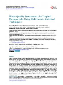 Water Quality Assessment of a Tropical Mexican Lake Using ...