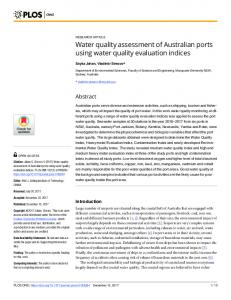 Water quality assessment of Australian ports using water ... - PLOS